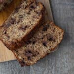 sliced loaf of chocolate chip banana bread