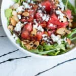 watermelon, arugula, toasted almonds and goat cheese salad