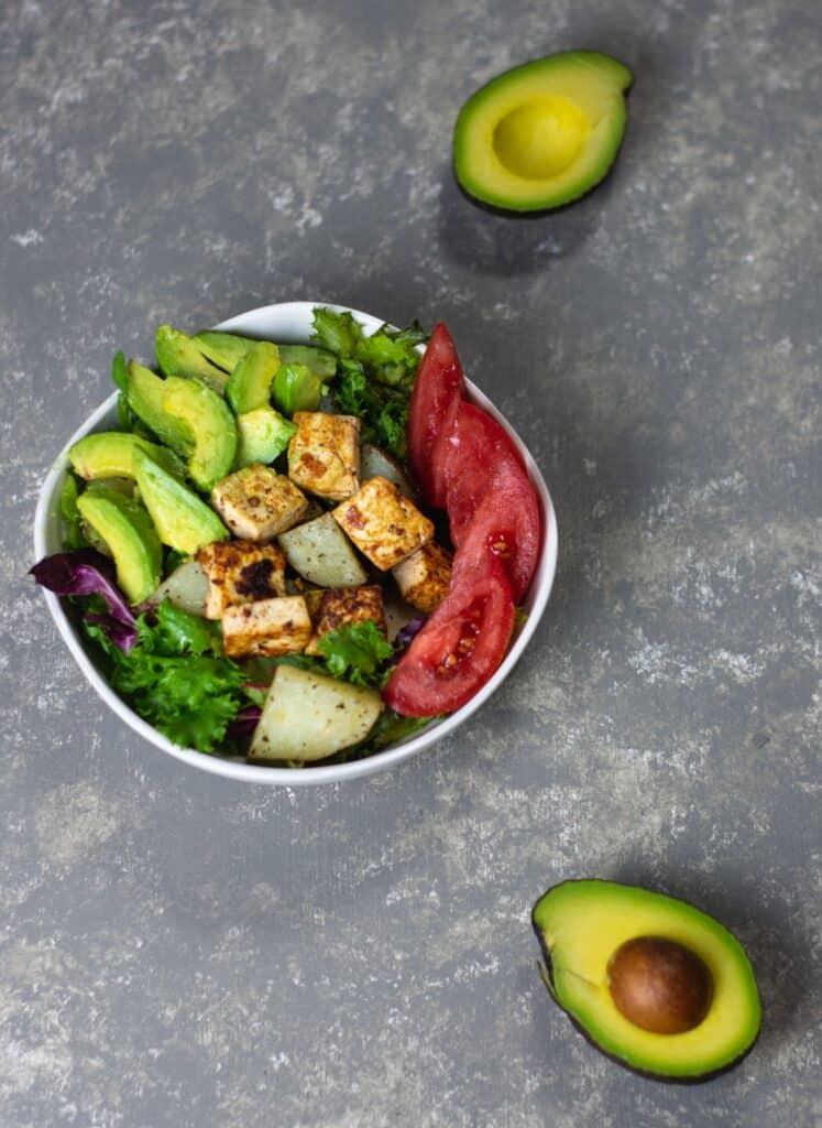 Tofu and potato breakfast salad with avocados
