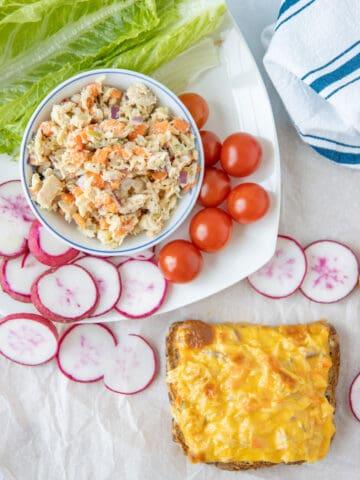tuna melt and tuna salad in bowl