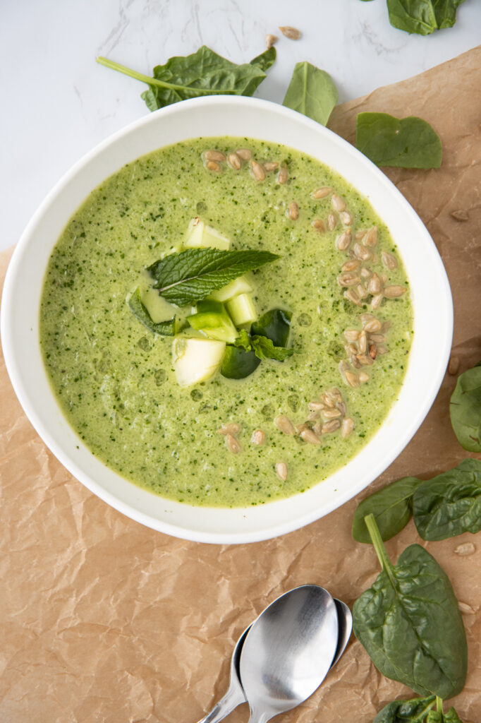 green gazpacho with cucumber and pepper