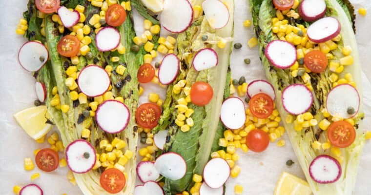 Grilled Romaine, Radish & Corn Salad