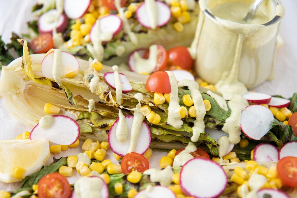 grilled romaine, radishes & corn salad