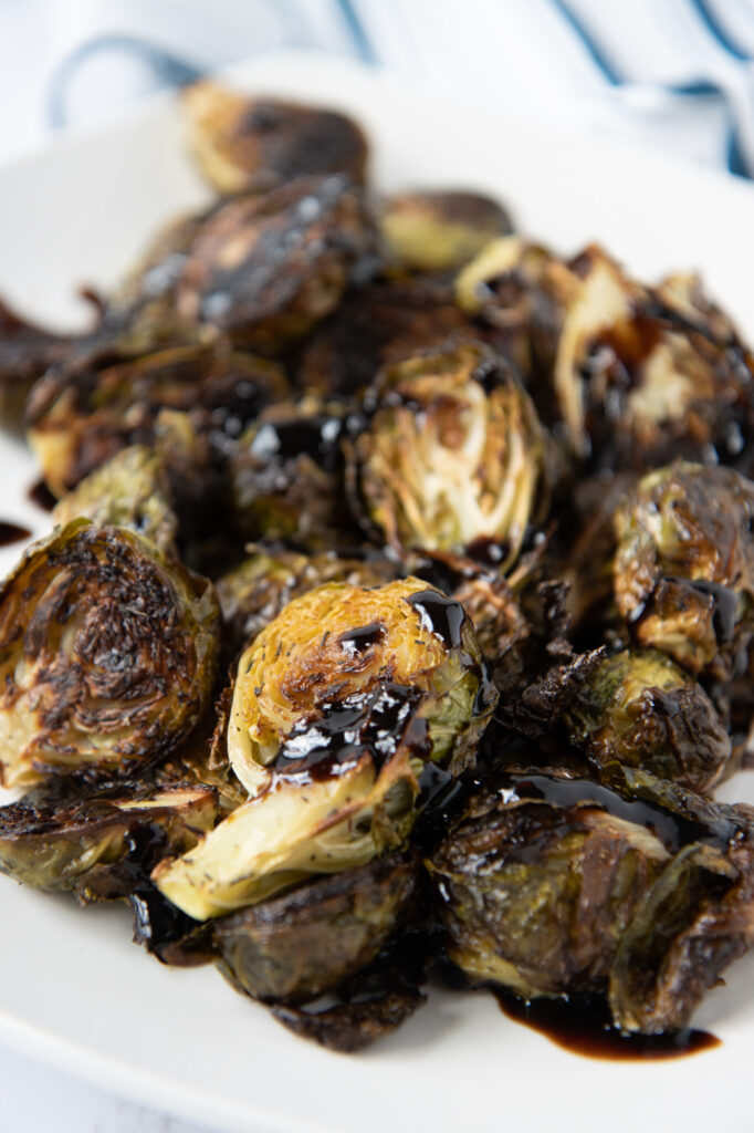 roasted brussels sprouts with raspberry balsamic glaze