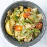 bowl of summer squash bow tie pasta