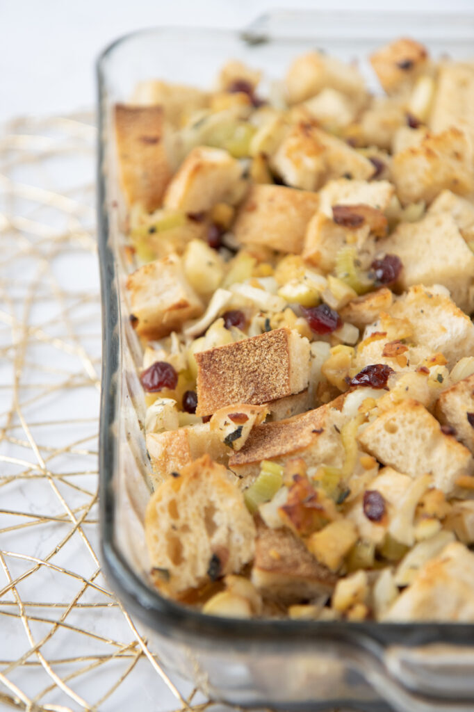 Baking pan of fennel apple & tempeh stuffing
