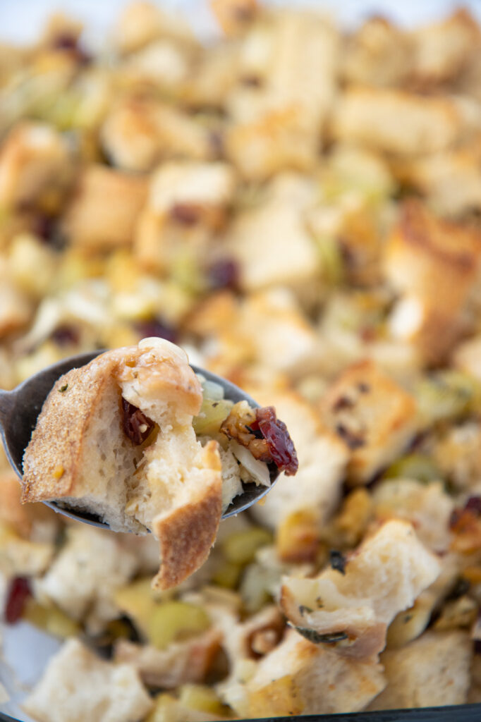 Spoon of fennel apple & tempeh stuffing