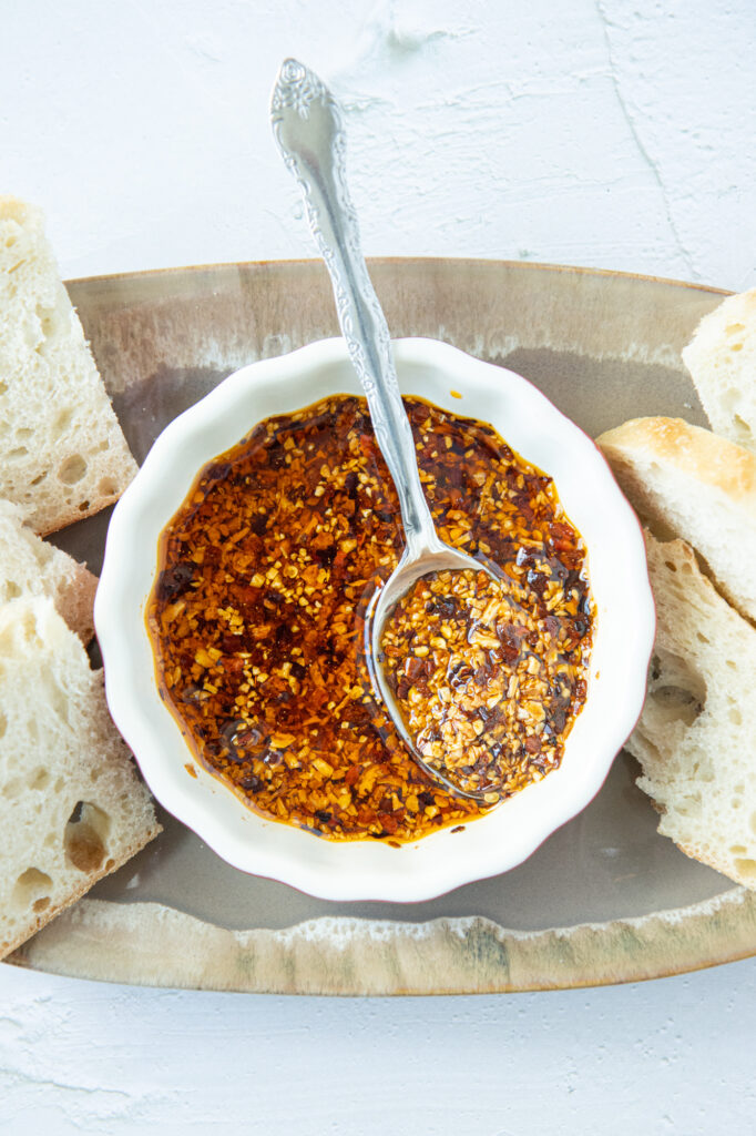 garlic chili oil with sliced bread