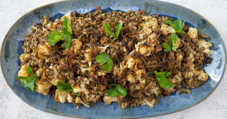 Caramelized Onions, Lentils and Cauliflower Salad