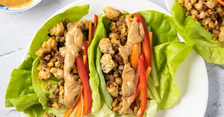 Teriyaki Tempeh Lettuce Wraps with Peanut Sauce
