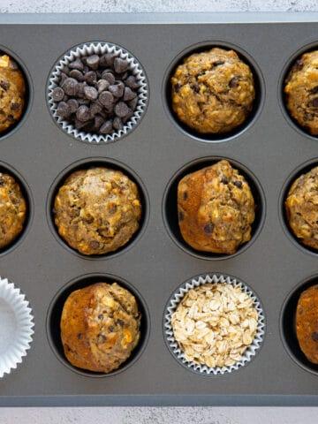 vegan banana oat muffins in a muffin tin