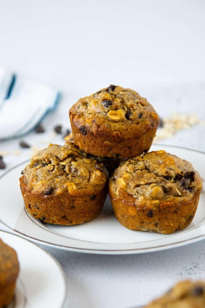 vegan banana oat muffins on a plate