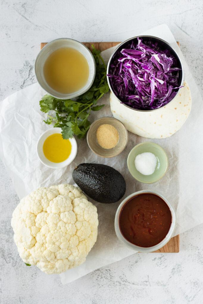 BBQ Cauliflower Tacos Ingredients Shot