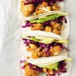 BBQ Cauliflower Tacos on a board