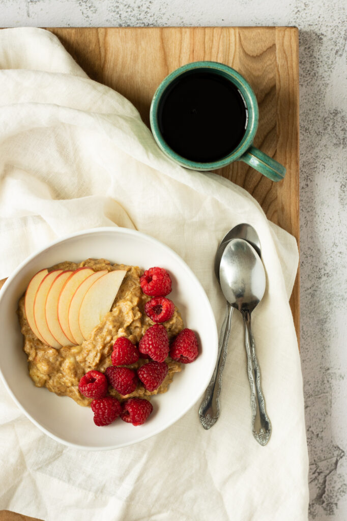 everyday oatmeal with coffee