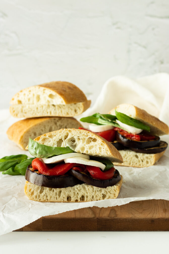balsamic grilled eggplant sandwiches