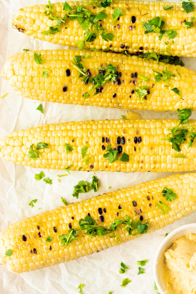 Grilled corn with vegan miso butter and cilantro