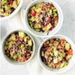 Sesame ginger quinoa salad in bowls.