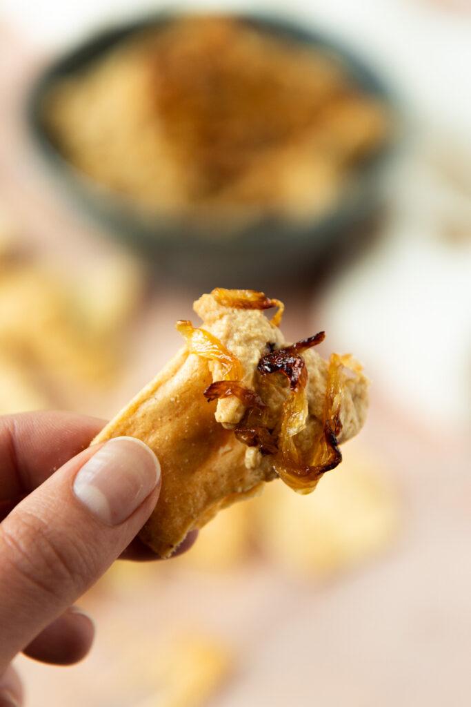 hummus on a pita chip