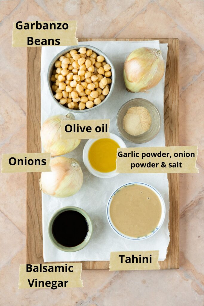 Overhead shot of ingredients for caramelized onion hummus