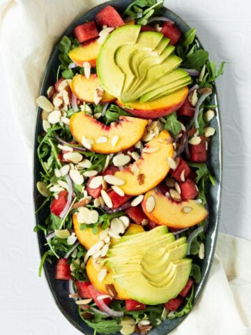 Peach watermelon summer salad