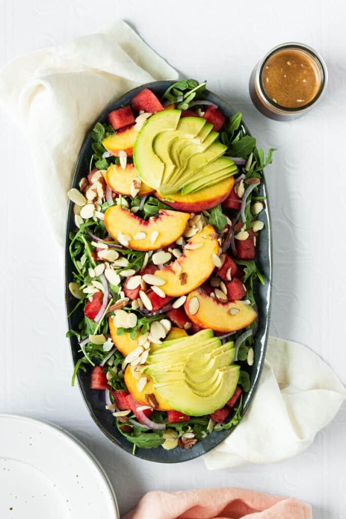 Peach watermelon summer salad with balsamic dressing