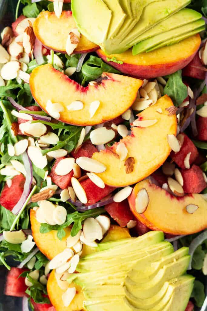 Close up of peach watermelon summer salad