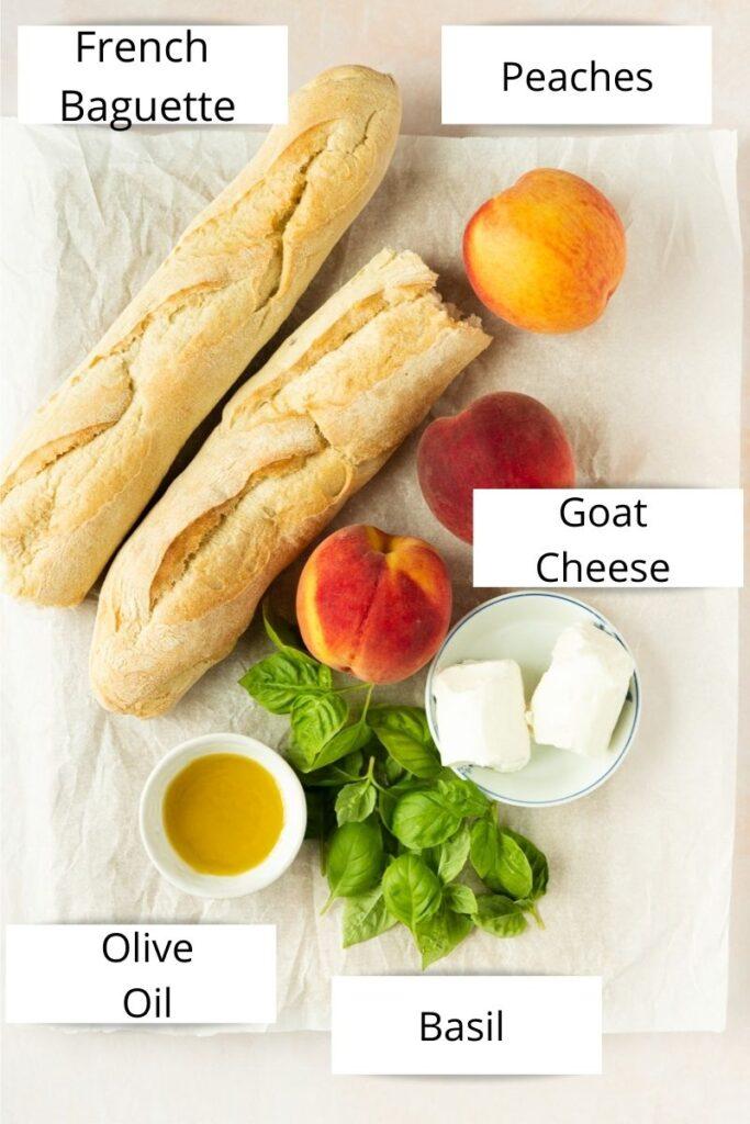 Peach crostini ingredients