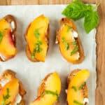 close up of summer peach crostini