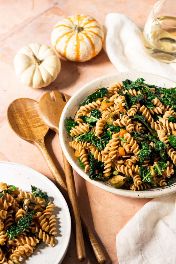 two plates of fall harvest rotini